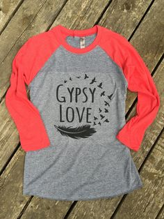 Gypsy Love Baseball Tee Gypsy Boho Cowgirl Country Music T-Shirt 3/4 Sleeve, Raglan Women's Country Lifestyle Apparel, Country Sayings Shirt by BackwoodsGypsyCo on Etsy
