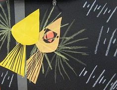 More Charley Harper birds! Birds and their reflection in glass. Love the simple shapes that make these easy (and super successful) for the KDG babies.