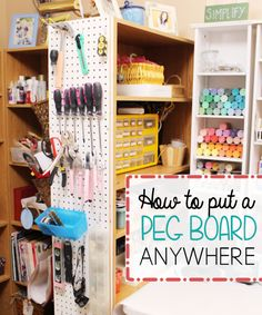 Pegboards are one of the most awesome organizing tools invented! You can put them anywhere as this posts shows! They are inexpensive and pretty simple to hang up. I bet you have more than one spot you could place one of these!