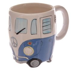 Coffee Cup Funky Novelty Blue Camper Van Design Ceramic Mug Gift Idea by getgiftideas on Etsy