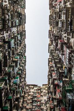 "Vertical Slums • Kowloo Walled City, Hong Kong-still think we need to change the word ""slum"" though and give people living there more dignity, don't they deserve that much?"