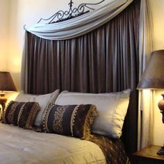 Curtain headboard. Looks expensive but actually very cheap