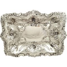"Antique Victorian Sterling Silver 11"" x 8"" Pierced Dish 1899"