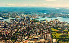 Sydney from above with tilt-shift Visit Australia, Sydney Australia, Brisbane, Melbourne, Australia Wallpaper, Live Wallpapers, 1080p Wallpaper, City Landscape, Famous Places