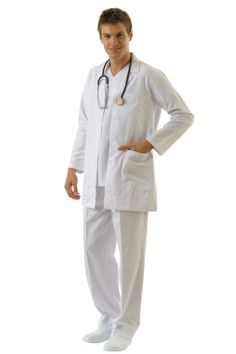 DC-16 DOCTOR UNIFORM •Top and Pant •Alpaca fabric, %65/35 poly/viscose •Classic jacket collar •One breast and two patch pockets •Longer length •Short or long sleeve options •With press stud or button •Wrinkle resistant •No yellowing •Color:  White    •Optional pastel colors  •Sizes(US): XS – S -M - L - XL -2XL -3XL •Sizes(EU): 46 -48 -50 -52 -54 -56  -58
