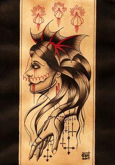 Scarlet Hel. #Tattoos #TattoosFlash #Flash