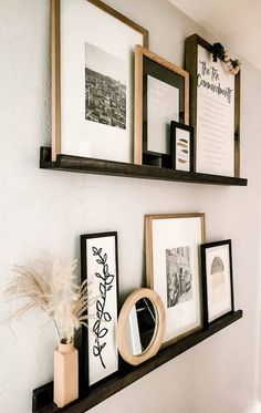 Picture Ledge Shelf, Picture On Wood, Picture Ledge Bedroom, Photo Shelf, Picture Frames On Shelves, Gallery Wall Shelves, Photo Ledge, Simple Pictures, Living Room Decor