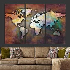 Three-piece panel World Map on Gallery Wrapped Canvas is a very unique piece. Vintage, earth-toned distressed look with colorful but subtle hues makes the artwork ideal to coordinate with multiple col