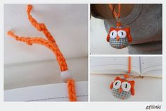 Orange Crochet Owl Necklace and Owl Bookmark in one piece - 2in1 – Adjustable-Cool gift for kids–Hanging Owl-Owl pendant-Crochet jewelry