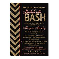 Glitter Bachelorette Bash Party Invitation Coral