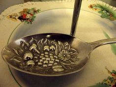 Serving spoon nickel silver vintage spoon by DollyTopsyVintage,