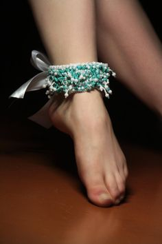 Ankles cuff bracelet embroidered blue turquoise by RasaVilJewelry