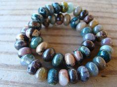Jasper Gemstone SemiPrecious Rondelle Beads  by BeJeweledByCandi, $8.50