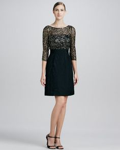 Sequined Lace-Bodice Cocktail Dress by Kay Unger New York at Neiman Marcus.