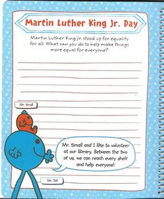 Mr. Men Little Miss: All Year Round - Martin Luther King Jr. Day (Page 1) #mrmenlittlemiss #mmlm #mrmenlittlemissallyearround #allyearround #mmlmallyearround #mlkday #mlk #martinlutherkingjrday #martinlutherkingday #mlkjrday #mlkjr #martinlutherking #martinlutherkingjr Mlk Jr Day, Mr Men Little Miss, All Year Round, King Jr, Martin Luther King Day, My Love