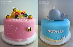 Bee and Whale Cakes