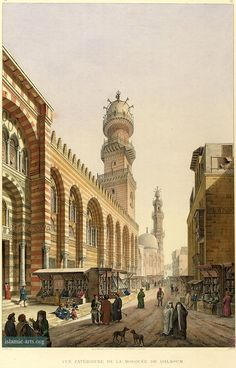 Complex of Sultan Qalawun, exterior, street view of mosque, Architecture arabe; 1818-1826