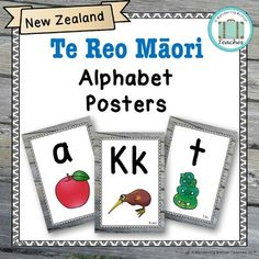 This set of Maori alphabet posters are a fantastic complement to any kiwi classroom. It contains a beautiful picture for each letter of the Maori alphabet. They are suitable for any mainstream of Maori immersion classroom, use them as part of your reading, daily 5 or writing display, you could even print them smaller and use them as word wall headers.  Just print, laminate and you are ready to go. Word Wall Headers, Alphabet Posters, Teaching The Alphabet, Classroom Environment, Daily 5, My Teacher, Kiwi, Authors, Beautiful Pictures