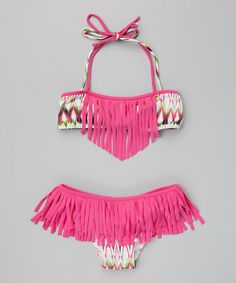 Another great find on #zulily! Fuchsia Ikat Fringe Bikini - Girls by 9's Swimwear #zulilyfinds
