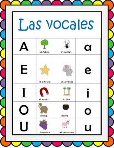 free spanish vowel prints by lidia barbosa from kinder latino at prek k sharing foreign. Black Bedroom Furniture Sets. Home Design Ideas