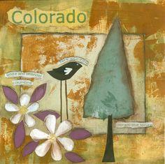 Colorado State Symbols...print on wood 8 x 8
