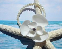 Seaflower Petite Seashell Crystal Wrist Corsage Beach Bracelet by ShellScapes
