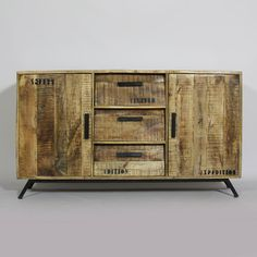 """Buffets """"Nordik"""" 3 tiroirs inclinés 2 portes en manguier et pieds métalliques…"""