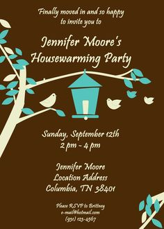 housewarming party invitations  cute birdhouse theme