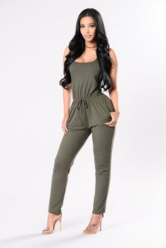 - Available in Olive - Brushed Jumpsuit - Elastic Waist - Front Tie String - 2 Front Pockets - Cross Back Detail - Made in USA - 94%Polyester 6%Spandex