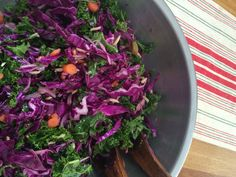 Red cabbage & kale with toasted almonds, carrots, red onions and green olives. Dressed with a simple Dijon vinaigrette. Perfect for any weather and travels well!