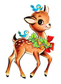 "Who doesn't love these ""doe-eyed"" critters!?  Vintage Christmas Card"