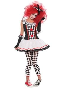 Adult Creepy Zombie Clown Costume Sexy Scary Jester Ladies Halloween Fancy Dress StraßEnpreis Fancy Dress