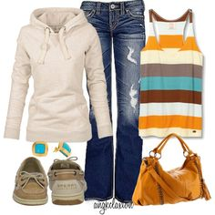 "Love the striped tank and buckle jeans. The creator of this outfit named it ""comfy day."" Perfect title:)"