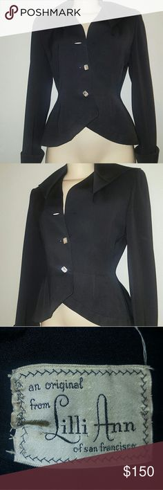 Vintage 1940's Original Lilli Ann blazer In great condition. No flaws. I took it to the dry clean and they damaged one of the crysta buttons, its was broken so i removed it. For vintage lovers' this is a real treasure... Too bad I gained few pounds. Jackets & Coats Blazers