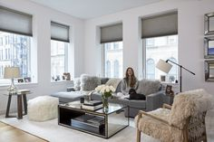 """""""I'm obsessed with my Mongolian fur chair in my living room.   Arielle of…"""
