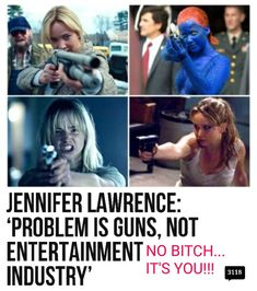 It's J-Law glamorising gun violence!!!
