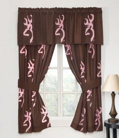 Southern Sisters Designs   Browning Buckmark Brown And Pink Window Drapes