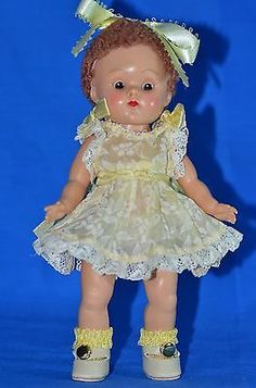"Vintage 8"" Vogue Ginny Doll Caracul Wig Strung Brown Eyes Tagged Dress"