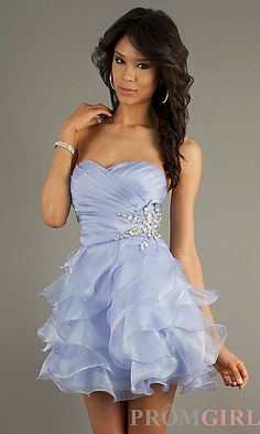 Strapless Short Dress with Ruffled Skirt by Alyce Paris 3562 at PromGirl.com