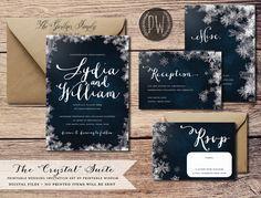 Winter Wedding Invitation Suite printable wedding invite vintage style snowflake…