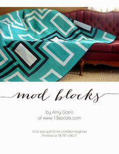 Mod Blocks Quilt Pattern Now Available! | This graphic, modern quilt is great for confident beginners. Depending on your color choices, it can be either feminine or masculine.