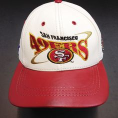 San Francisco 49ERS , LOGO TEAM NFL BASEBALL LEATHER CAP White/Red Available at the LEATHER collection www.theLEATHERcollection.net