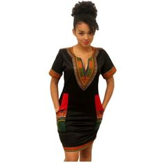 Women's Traditional African Dashiki Dress ($9.99) ❤ liked on Polyvore featuring dresses, african print dresses and african dresses