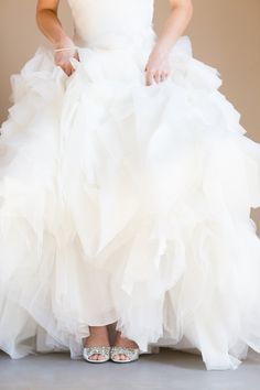 frothy wedding gown #weddingdress #bride #weddingchicks http://www.weddingchicks.com/2014/01/29/shabby-chic-barn-wedding/