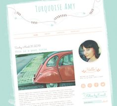 Turquoise Amy Blogger Template - Web / Blogger Templates | Luvly