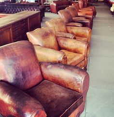 What a collection of leather arm chairs Bench Stool, Vintage Sofa, Arm Chairs, Benches, Stools, Colonial, Safari, Club, Antiques