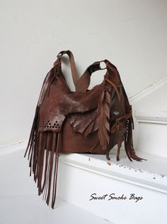 Distressed chestnut brown leather fringed hobo by SweetSmokebags
