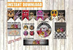 Five Nights at Freddy's Party Pack Instant Download FNAF Printable