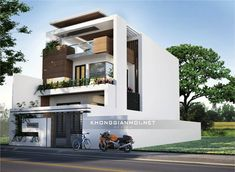 Townhouse Designs, Bungalow House Design, House Front Design, Modern House Design, Building Elevation, House Elevation, Front Elevation Designs, Facade House, Large Homes