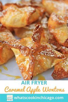 Air Fryer Caramel Apple Wontons Easy No Bake Desserts, Desserts For A Crowd, Fun Desserts, Delicious Desserts, Yummy Food, Wonton Recipes, Appetizer Recipes, Dessert Recipes, Homemade Apple Pies